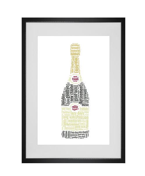 Personalised Word Art Gifts, Unique Keepsake gifts,  Gifts for her, Gifts for him, Retirement Gifts, Champagne Bottle print