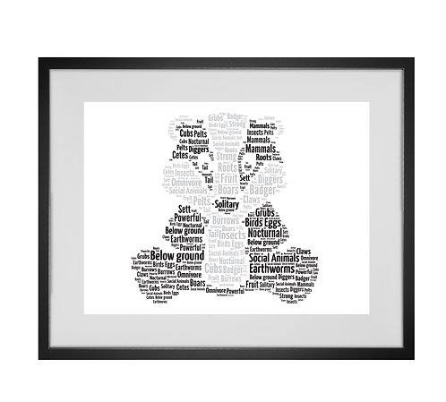Badger Personalised Word Art Gifts, Unique Keepsake gifts, Badger prints, Animal word art gifts, pet gifts, zoo prints
