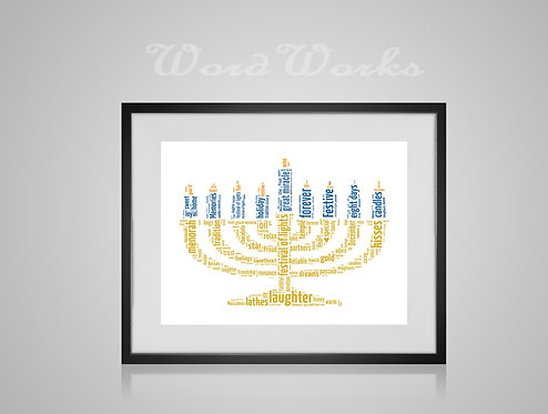 Personalised Word Art Gifts, Unique Keepsake gifts,  Gifts for her, Gifts for him, Menorah Hanukkah Chanukah religious symbol