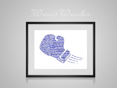 Personalised Word Art Gifts, Unique Keepsake gifts, Gifts for him, sports gifts, fathers day, Blue Boxing Glove
