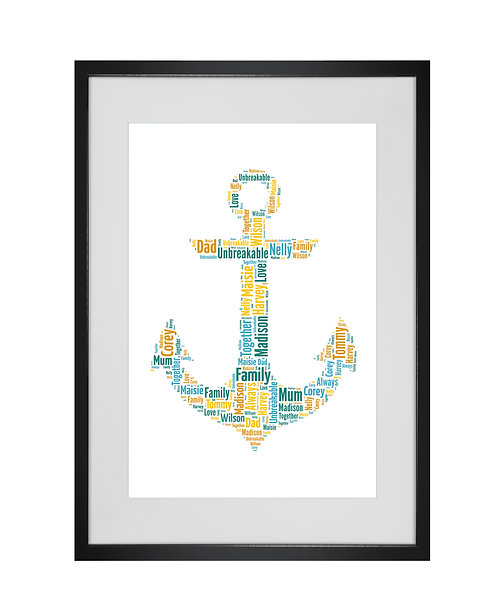 Personalised Word Art Gifts, Unique Keepsake gifts, personalised Letter Art, Word Cloud, Home Decor, Fathers Day, anchor art