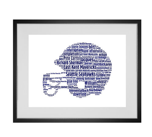 Personalised Word Art Gifts, Unique Keepsake gifts, Gifts for him, sports gifts, American football helmet art