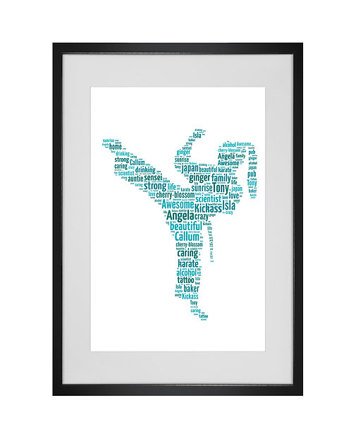 Personalised Word Art Gifts, Unique Keepsake gifts, sports gifts, Female Martial Arts Karate Jujitsu Judo Taekwondo