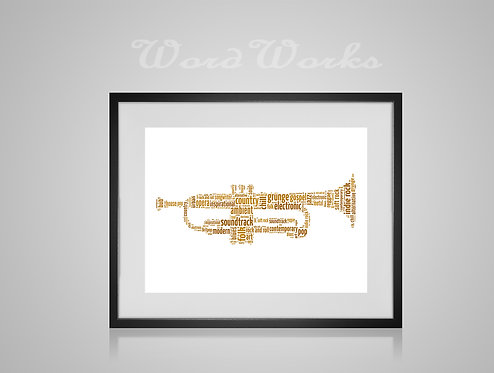 Personalised Word Art Gifts, Unique Keepsake gifts, Musical note print, musician art, Trumpet Player, Trumpet Art music print