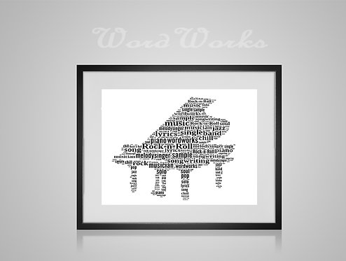 Personalised Word Art Gifts, Unique Keepsake gifts, Musical note print, musician art, Piano player art, Pianist, music print