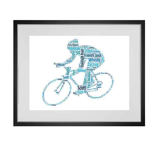 Personalised Word Art Gifts, Unique Keepsake gifts, Gifts for him, sports gifts, Cyclist gift, Bicycle print, biker gifts