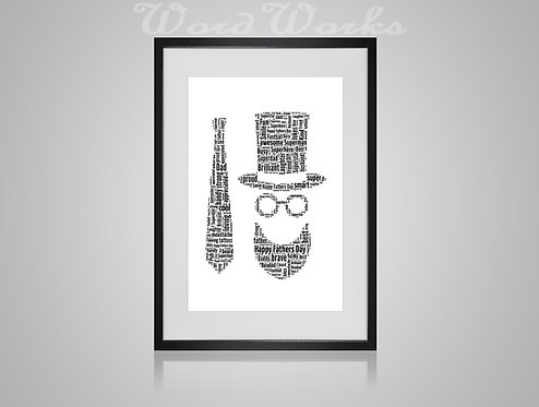 Personalised Word Art Gifts, Unique Keepsake gifts, personalised Letter Art, Fathers Day Gifts, Hipster Dad Daddy presents