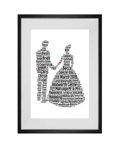 Personalised Word Art Gifts, Unique Keepsake gifts, personalised Wedding couple present, Gift for her, Gift for him, newlweds