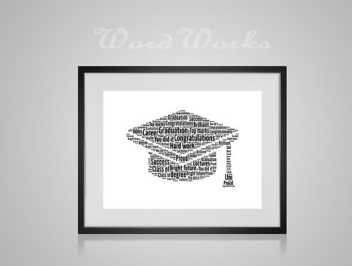 Personalised Word Art Gifts, Unique Keepsake gifts, personalised Letter Art, Word Cloud print, Graduation Present, Uni Leaver