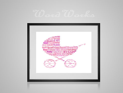 Personalised Word Art Gifts, Unique Keepsake gifts, New Born gift, Nursery decor, baby girl boy pram, gifts for kids