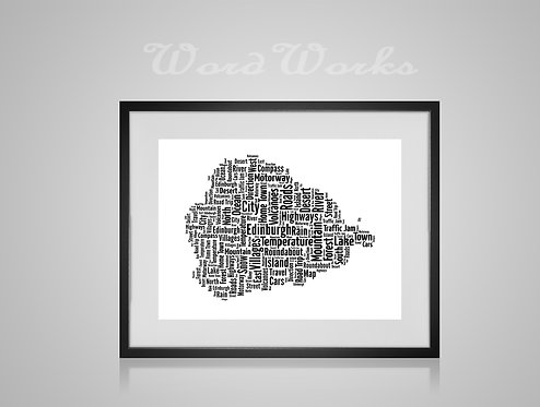Personalised Word Art Gifts, Unique Keepsake gifts,  Gifts for her, Gifts for him, Map prints, hometown print, Edinburgh Map