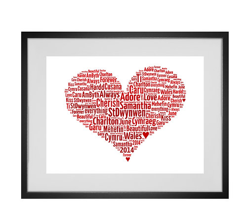 Personalised Word Art Print Gifts, Unique Keepsake gifts, Mothers Day gift, gifts for mum mummy, word cloud, Love heart
