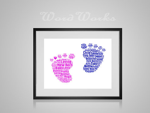 Personalised Word Art Gifts, Unique Keepsake gifts, New Born gift, Baby Nursery decor, New Baby footprint, gifts for kids