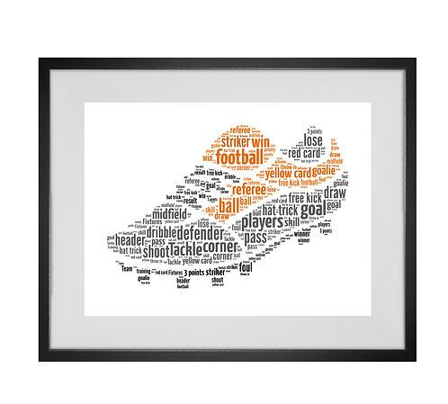 Personalised Word Art Gifts, Unique Keepsake gifts, Gifts for him, sports gifts, gifts for kids, Custom Football boot