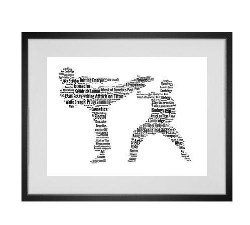 Personalised Word Art Gifts, Unique Keepsake gifts, sports gifts, Martial Arts Karate Jujitsu Judo Taekwondo