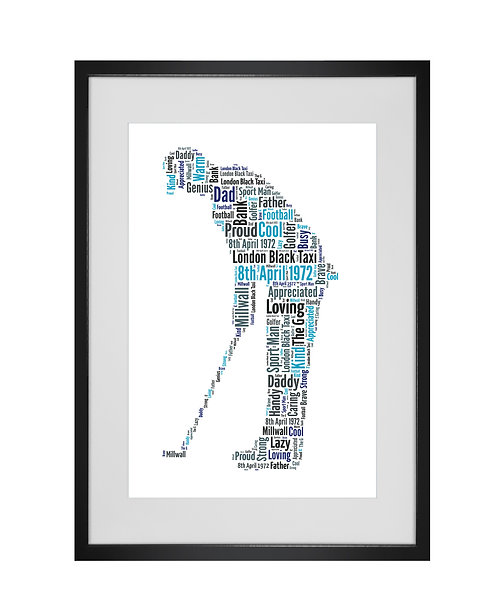 Personalised Word Art Gifts, Unique Keepsake gifts, Gifts for him, sports gifts, fathers day, Golf Gifts, gifts for golfers