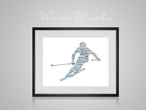Personalised Word Art Gifts, Unique Keepsake gifts, sports gifts, Winter Sports, Skiing gifts Ski prints