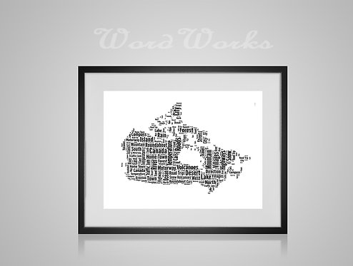 Personalised Word Art Gifts, Unique Keepsake gifts,  Gifts for her, Gifts for him, Map prints, hometown print, Canada Map