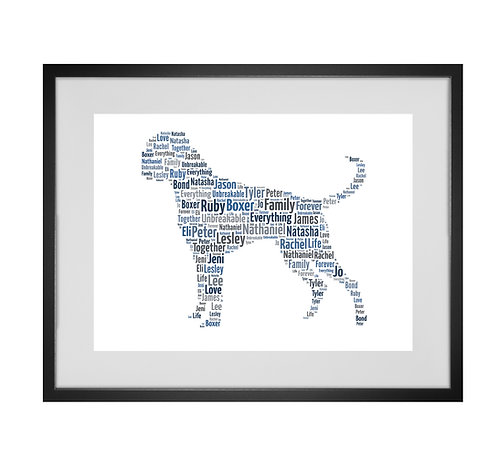 Boxer Dog, Personalised Word Art Gifts, Unique Keepsake gifts, Dog Word Art, Dog Lover, pet prints, pet memorials,