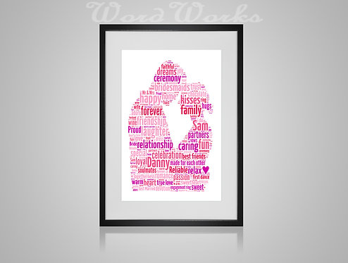 Personalised Word Art Gifts, Unique Keepsake gifts, personalised Wedding Couple present, Gift for her, Gift for him