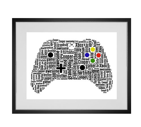 Personalised Word Art Gifts, Unique Keepsake gifts, personalised Letter Art, Gifts for Gamers, Custom Controller Art