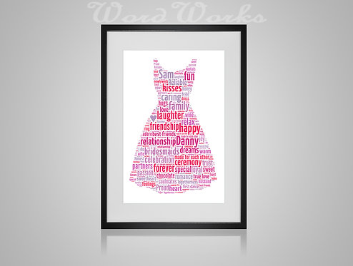 Personalised Word Art Gifts, Unique Keepsake gifts, personalised Wedding bridesmaid dress, Gift for her, Gift for him