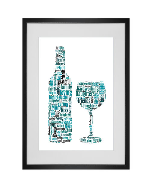 Personalised Word Art Print Gifts, Unique Keepsake gifts, Mothers Day, gifts for mum mummy, Wine Drinker, Wine bottle Print
