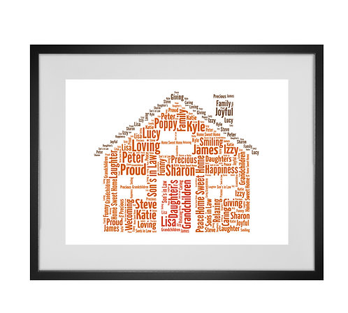 Personalised Word Art Gifts, Unique Keepsake gifts, personalised Letter Art, Word Cloud print, Home Decor, New Home Gift