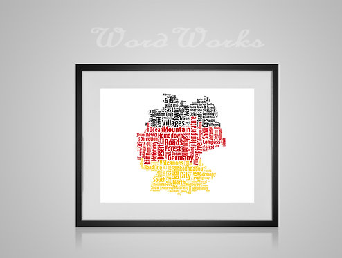 Personalised Word Art Gifts, Unique Keepsake gifts,  Gifts for her, Gifts for him, Map prints, hometown print, Germany Map