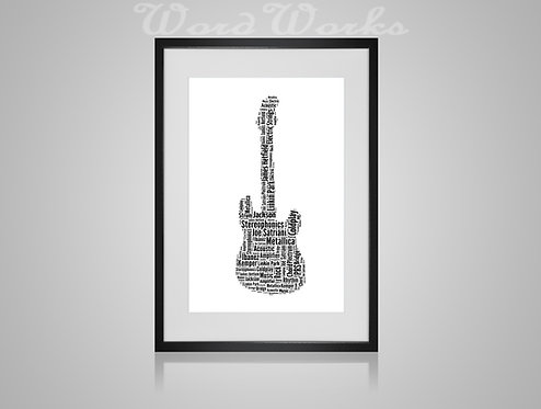 Personalised Word Art Gifts, Unique Keepsake gifts, Musical note print, musician art, Electric Guitar player, music print