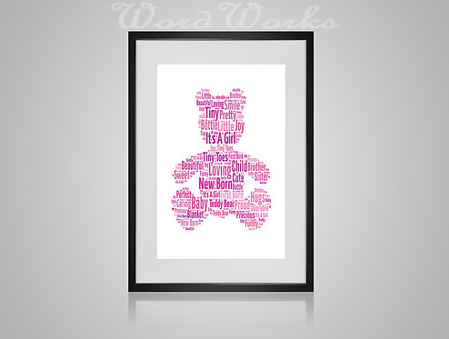 Personalised Word Art Gifts, Unique Keepsake gifts, New Born gift, New Borns room decor, baby girl teddybear, gifts for kids