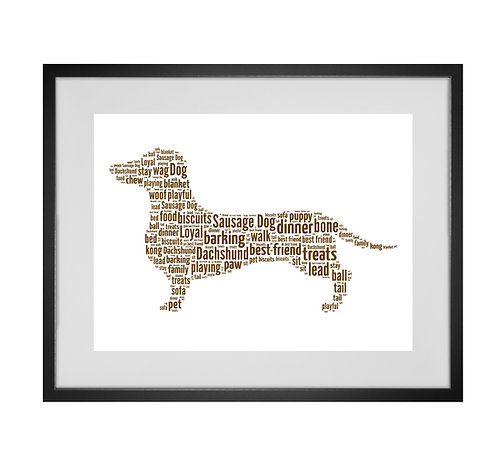 Dachshund, Sausage Dog, Personalised Word Art Gifts, Unique Keepsake gifts, Dog Word Art, Dog Lover, pet prints, pet memorial