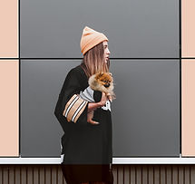 Woman with Pomeranian Puppy