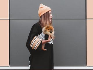 Frau mit Spitz-Welpen