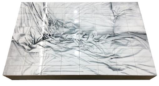 """Bed, 2019, Laser-etched subway tile, 30x48"""""""