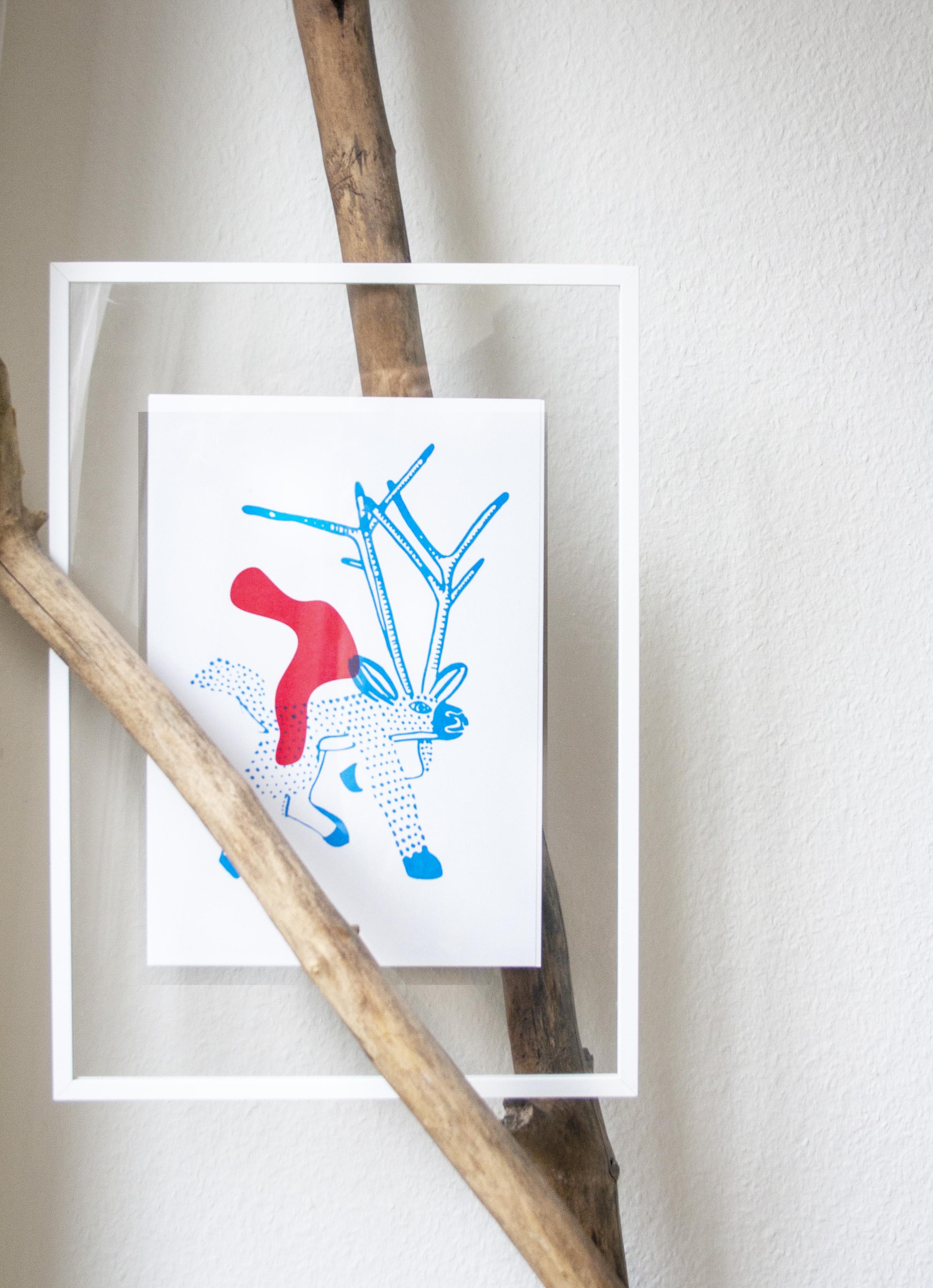cerf bleu bois