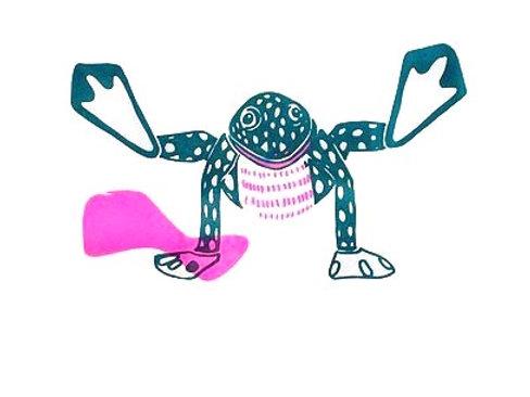Rana bailando rosa / Rana bailando naranja