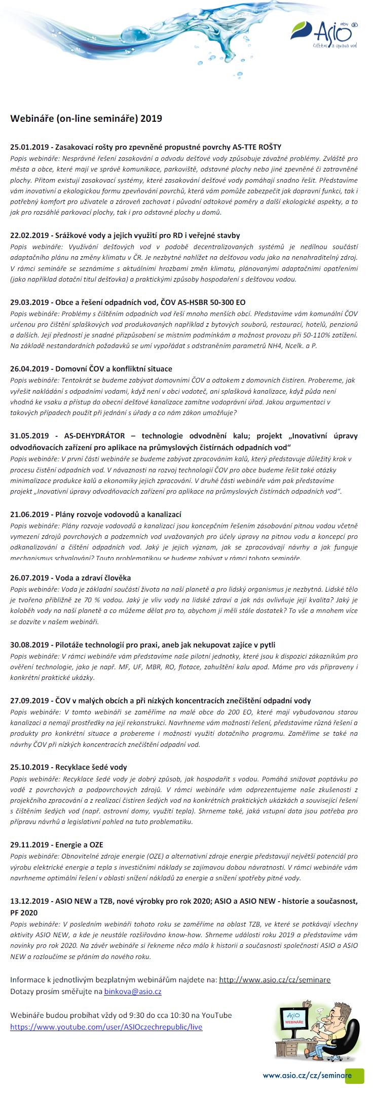 Webináře ASIO - 2019