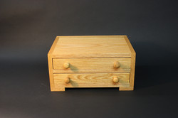 Oak box with two trays
