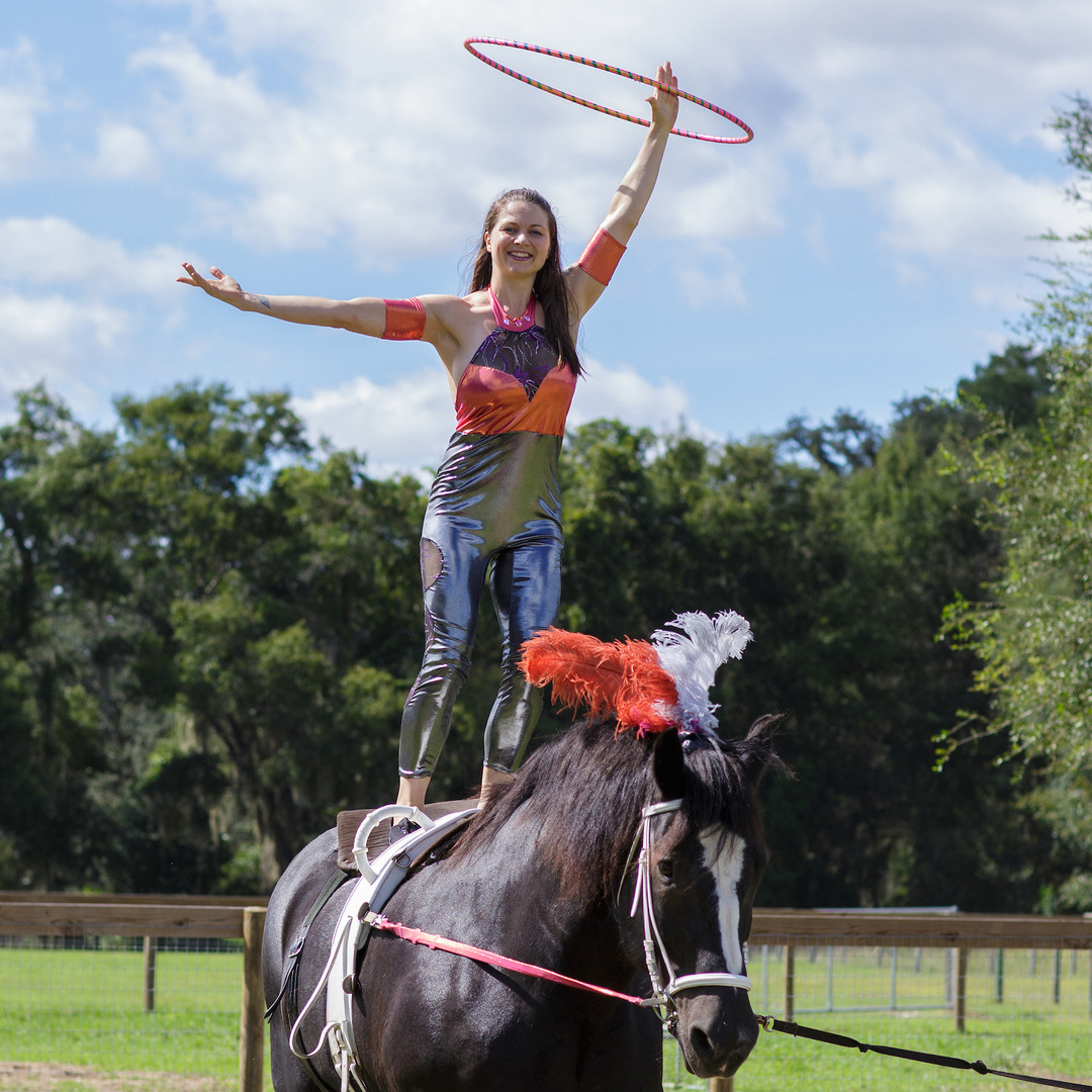 Equestrian vaulting at the Two Hawk Country Circus