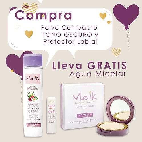 Polvo Compacto Tono Oscuro + Protector Labial