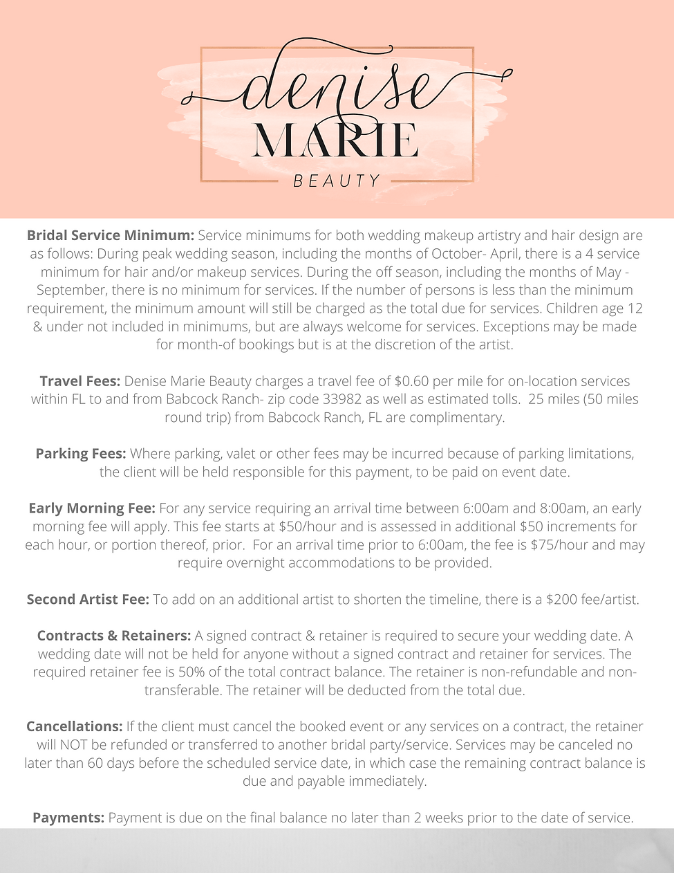 Denise Marie Beauty Details & Fees 2021.