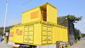 湘南の黄色いコンテナガレージ
