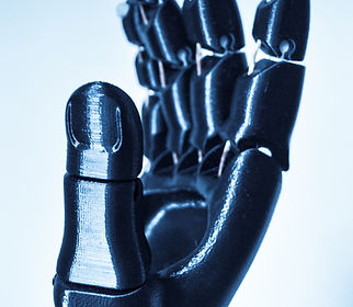 Robot hand fingers from plastic close-up