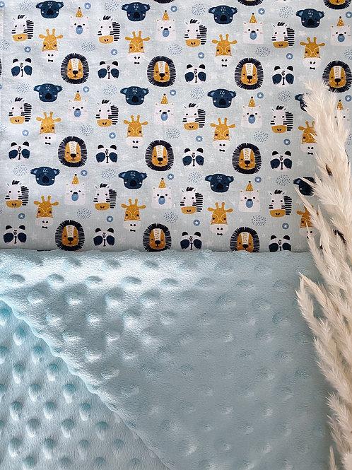 Couverture bébé bleue - minky bleu