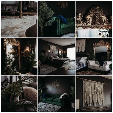 9 image grid of photos of elevation boudoir's studio setup