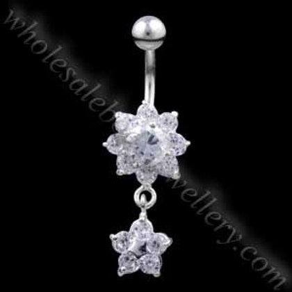 Flower Drop Flower Silver & Steel Navel (BM012)