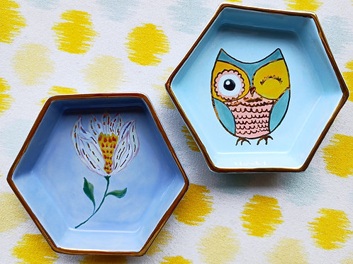 Owl and Floral hexagonal tray