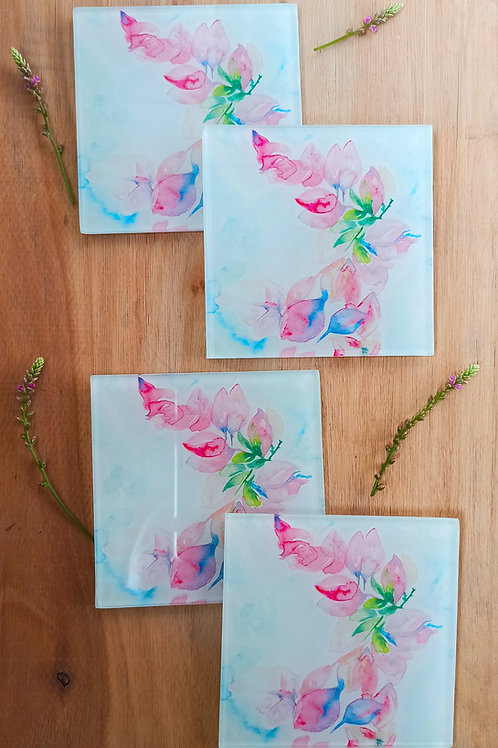 Lilac Bougainville Glass Coasters