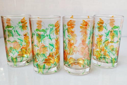 Bougainville Orange glasses (set of 4)